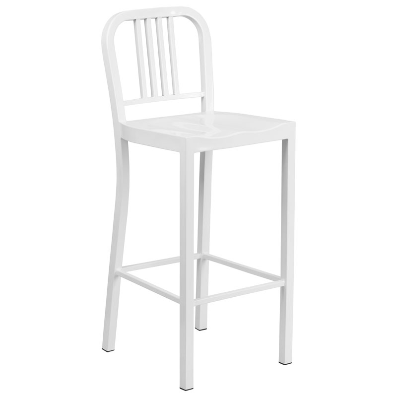 Hartford White Modern Outdoor Bar Stool