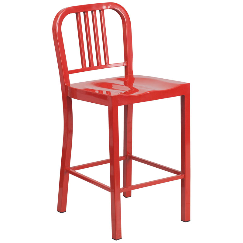 Hartford Red Modern Outdoor Counter Stool