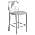 Hartford Silver Modern Outdoor Counter Stool