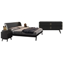 Modloft Haru Contemporary Bedroom Set in Black Oak Wood with Natural Oak Accents