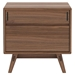 Modloft Haru Modern Nightstand in Walnut Wood - Front