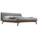 Modloft Haru Modern Platform Bed in Walnut Wood and Gray Andorra Wool