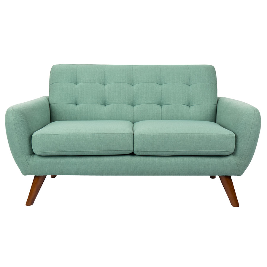 hatcher teal blind tufted fabric upholstery  natural splayed wood leg contemporaryloveseat . modern loveseats  hatcher teal loveseat  eurway