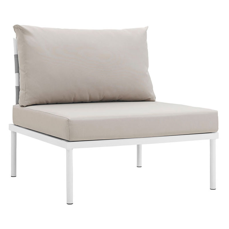 Havasu White + Beige Modern Armless Outdoor Chair