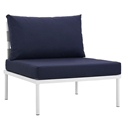 Havasu White + Navy Modern Armless Outdoor Chair