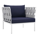 Havasu White, Gray + Navy Modern Outdoor Chair
