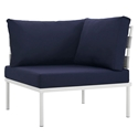 Havasu White + Navy Modern Corner Outdoor Chair