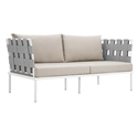 Havasu White, Gray + Beige Modern Outdoor Loveseat