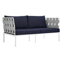 Havasu White, Gray + Navy Modern Outdoor Loveseat