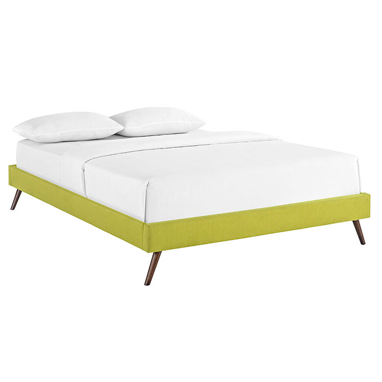Hearten Wheatgrass Fabric Modern Platform Bed Frame