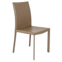 Hasina Modern Taupe Leather Dining Chair