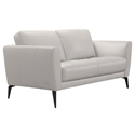 Heather Modern Gray Leather Loveseat