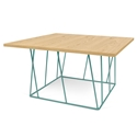 Helix Oak Top + Green Base Square Modern Coffee Table