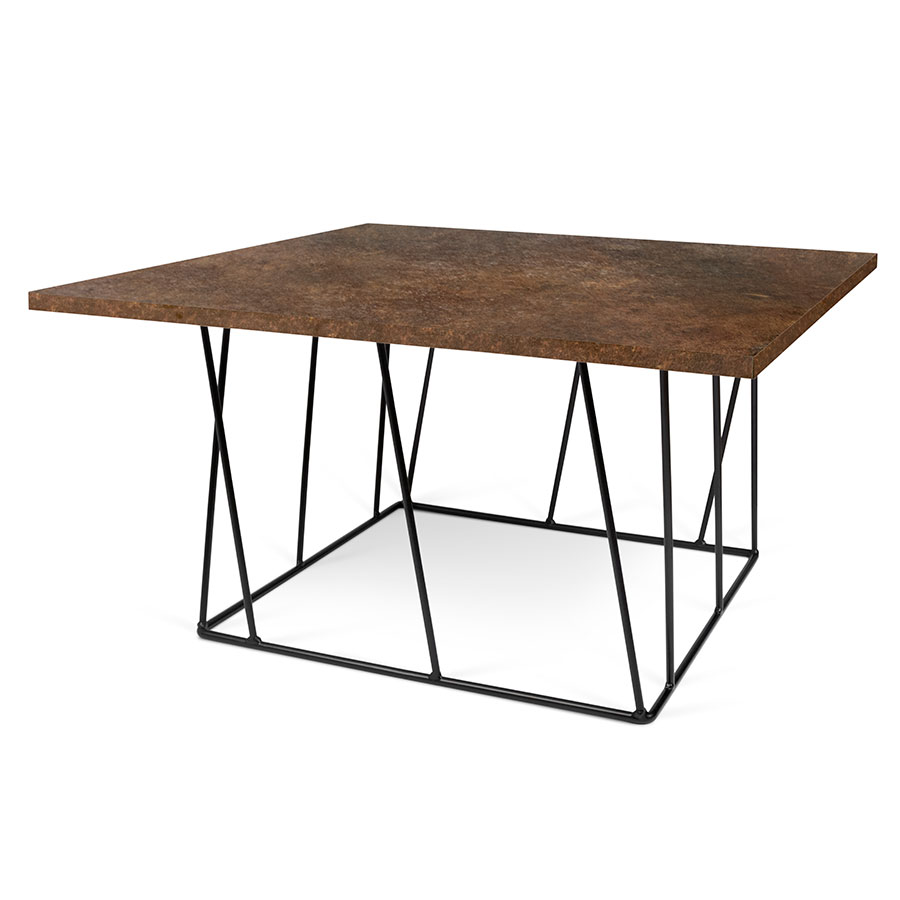 Helix Rust + Black Square Modern Coffee Table