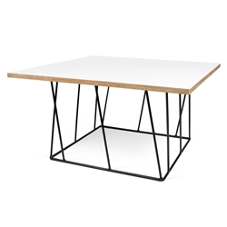 Helix White Top + Black Metal Square Modern Coffee Table