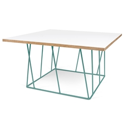Helix White / Ply Honeycomb Panel + Green Metal Modern Square Coffee Table