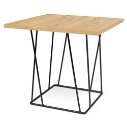 Helix Oak Top + Black Base Modern End Table