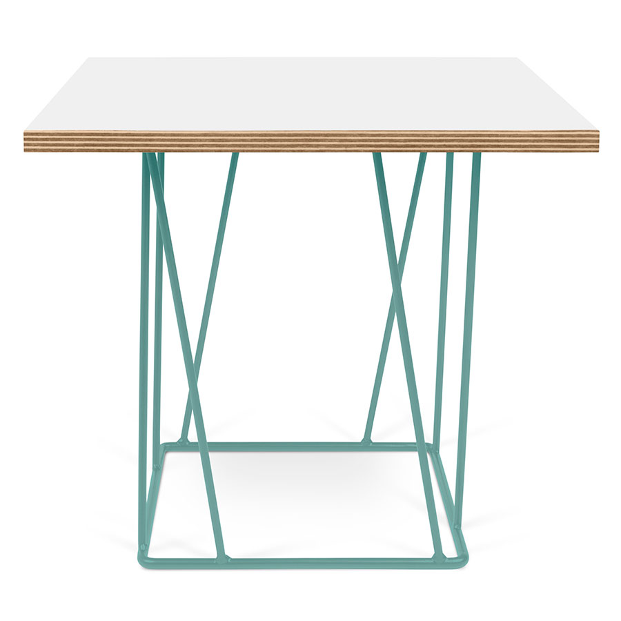 modern side tables  helix white  green end table  eurway -  helix white top  green metal base square contemporary end table