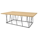 Helix Oak Top + Black Base Modern Rectangular Coffee Table