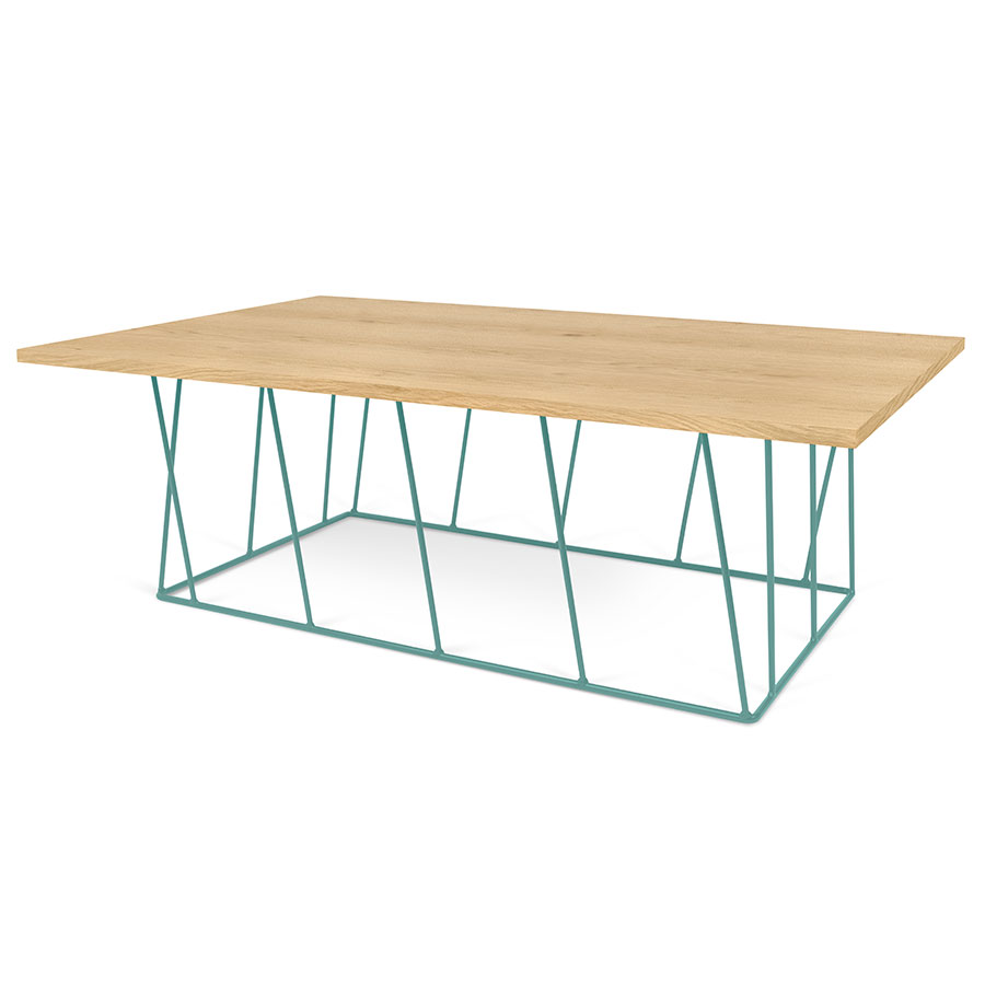 Helix Oak Top + Green Base Modern Rectangular Coffee Table