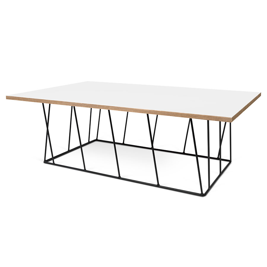 Helix White Black Rectangle Modern Coffee Table Eurway