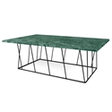 Helix Green Marble + Black Metal Modern Rectangular Coffee Table