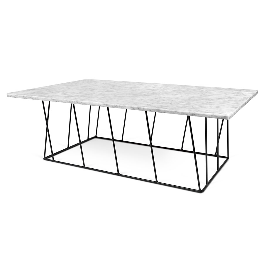 Square Coffee Table In White Marble And Black Metal: TemaHome Helix White + Black Long Marble Modern Coffee