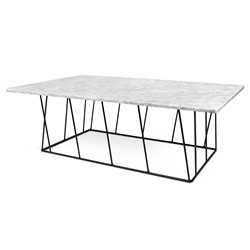 Helix White Marble + Black Metal Modern Rectangular Coffee Table