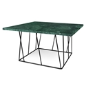 Helix Green Marble + Black Metal Square Modern Coffee Table by TemaHome