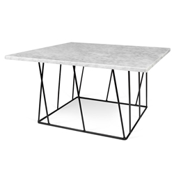 Helix White Marble + Black Metal Square Modern Coffee Table