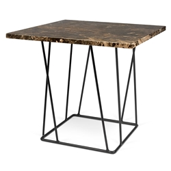 Helix Brown Marble + Black Metal Modern End Table