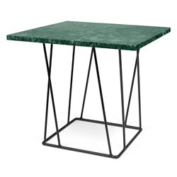 Helix Green Marble + Black Metal Square Modern End Table