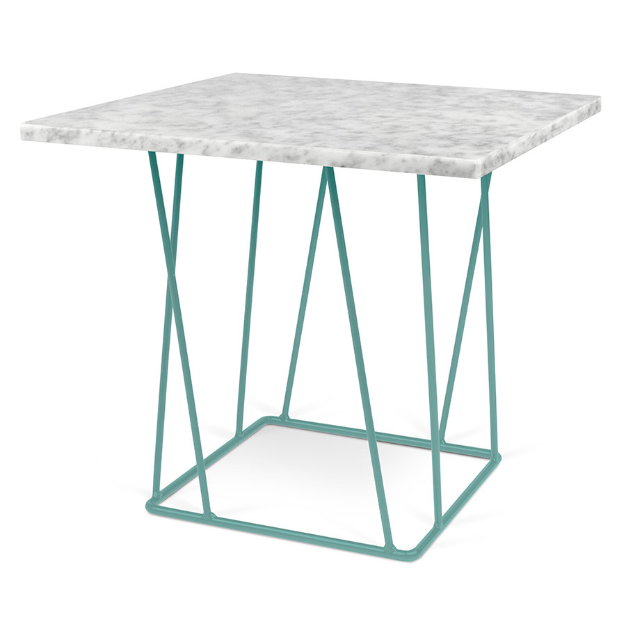 helix white  green modern end table  eurway furniture - helix white marble top  green metal base modern end table
