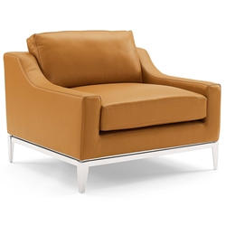 Hendrix Modern Tan Leather + Polished Steel Chair