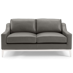 Hendrix Modern Gray Leather + Polished Steel Loveseat - Front View