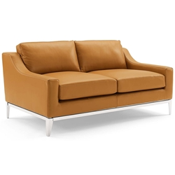 Hendrix Modern Tan Leather + Polished Steel Loveseat - Front View