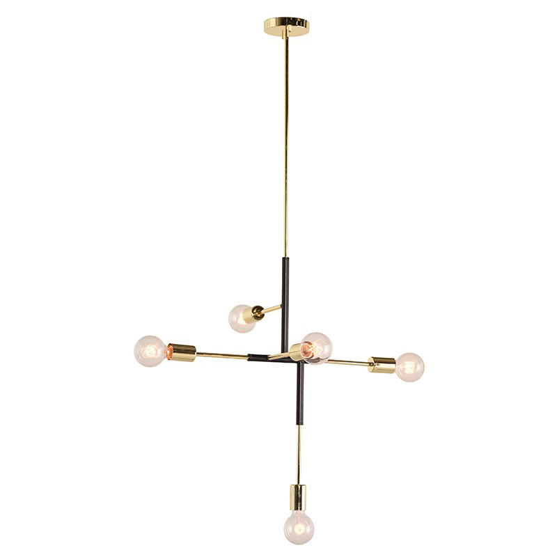 Hendrix Matte Black Steel + Polished Gold Accents 5-Bulb Modern Hanging Lamp by Nuevo