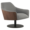 Modloft Black Henry Modern Lounge Chair in Gray Herringbone Fabric Upholstery + Walnut Wood + Powder Coated Steel