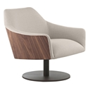 Modloft Black Henry Modern Lounge Chair in Oxford Tan Fabric Upholstery + Walnut Wood + Powder Coated Steel