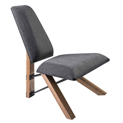 Hessian Charcoal Fabric + Zebra Wood Contemporary Armless Modern Lounge Chair