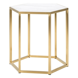 Hewitt White Marble + Gold Steel Modern End Table