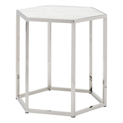 Hewitt White Marble + Polished Steel Modern End Table