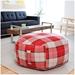 Gus Modern Hex Ottoman in Red Plad Fabric