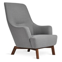 Gus* Modern Hilary Chair in Gray Berkeley Metro Fabric Upholstery With Played Angular Wood Base