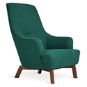Gus* Modern Hilary Chair in Green Stockholm Juniper Fabric Upholstery and Walnut Wood Legs
