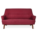 Gus* Modern Hilary Loft Sofa in Stockholm Merlot Fabric Upholstery With Splayed Solid Wood Legs