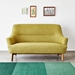 Gus* Modern Hilary Loft Sofa in Bayview Dandelion Fabric Upholstery With Splayed Solid Wood Legs - Lifestyle