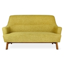 Gus* Modern Hilary Loft Sofa in Bayview Dandelion Fabric Upholstery With Splayed Solid Wood Legs