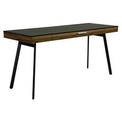 Hillard Black + Walnut Modern Desk