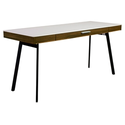 Hillard White + Walnut Modern Desk